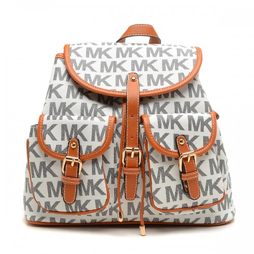 Michael Kors Jet Set Signature PVC Large White Backpacks