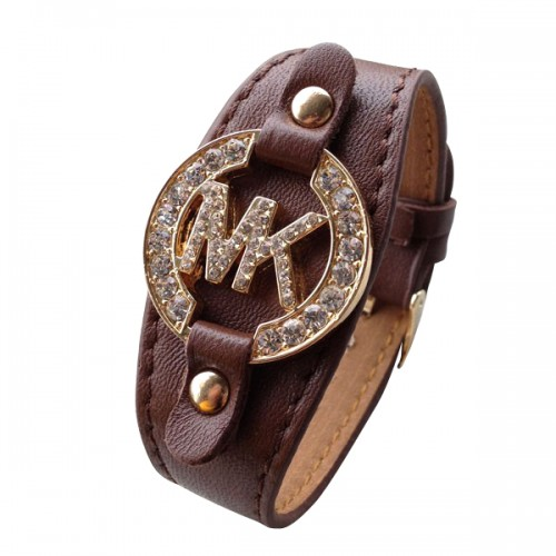 Michael Kors Leather Logo Coffee 005 Bracelets