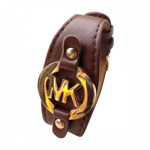 Michael Kors Leather Logo Coffee Bracelets