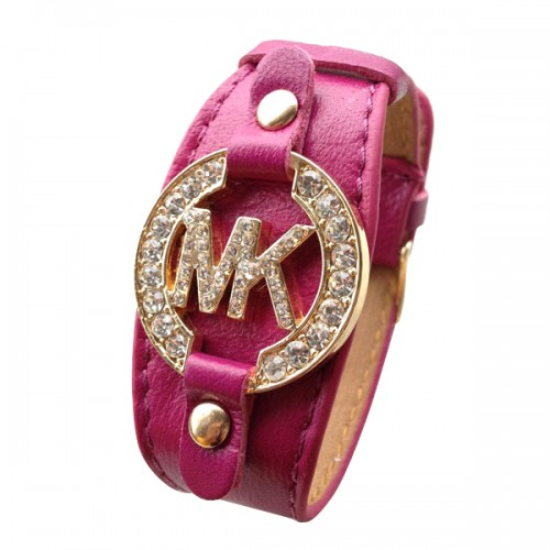 Michael Kors Leather Logo Fuchsia Bracelets