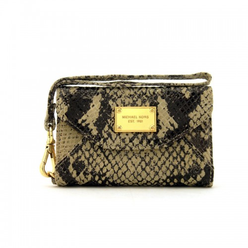 Michael Kors Patent Python-Embossed Leather Large Beige iPhone 4 Cases