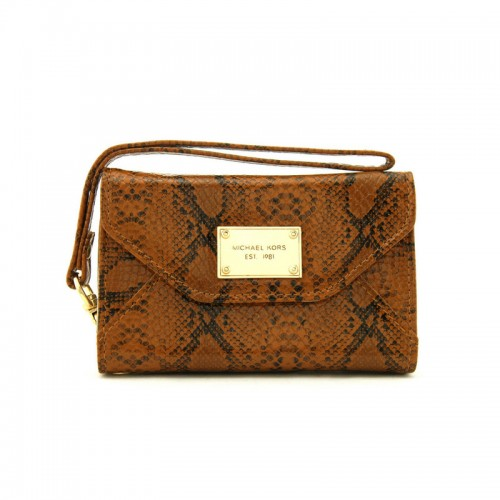 Michael Kors Patent Python-Embossed Leather Large Brown
