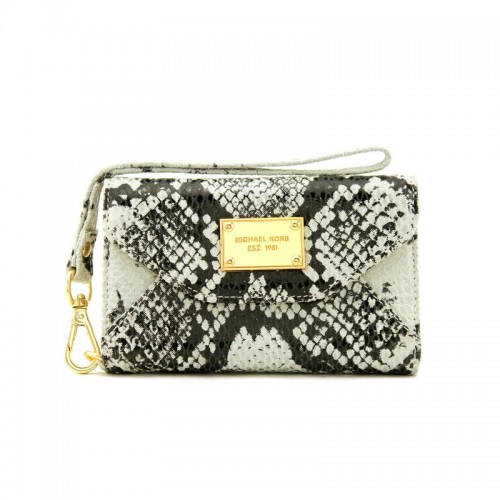 Michael Kors Patent Python-Embossed Leather Large White