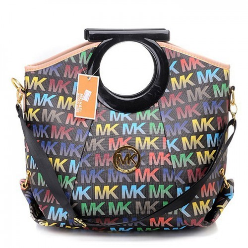 Michael Kors Berkley Logo Large Black Multicolor 001 Clutches