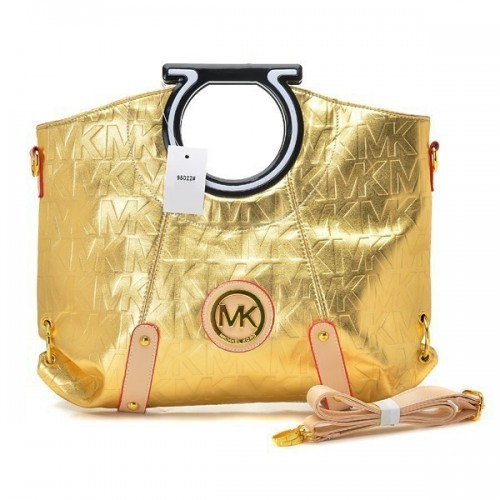 Michael Kors Berkley Logo Large Gold Clutches