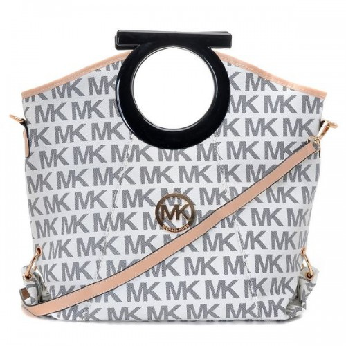 Michael Kors Berkley Logo Large White Clutches