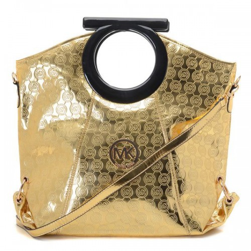 Michael Kors Logo-Print Large Gold 002 Clutches