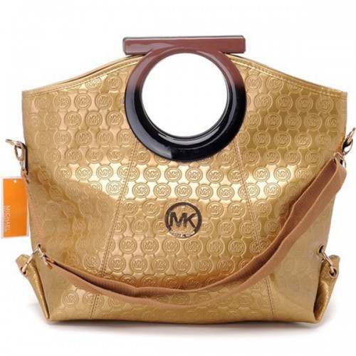 Michael Kors Logo-Print Large Gold 003 Clutches
