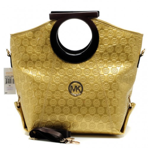 Michael Kors Logo-Print Large Gold Clutches