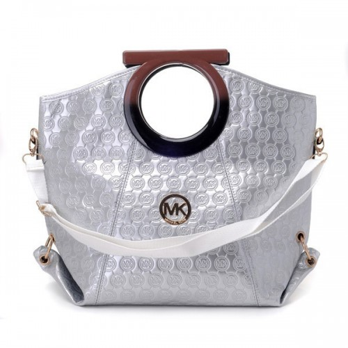 Michael Kors Logo-Print Large White Clutches