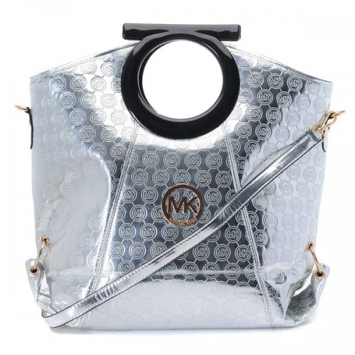 Michael Kors Mirror Metallic Patent Leather Clutches Silver