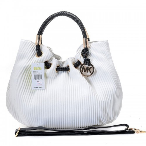 Michael Kors Ring Embossed Large White Drawstring Bags