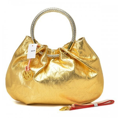 Michael Kors Ring Hobo Metallic Leather Large Gold Drawstring
