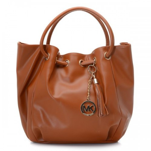Michael Kors Smooth Outlook Logo Medium Brown Drawstring Bags
