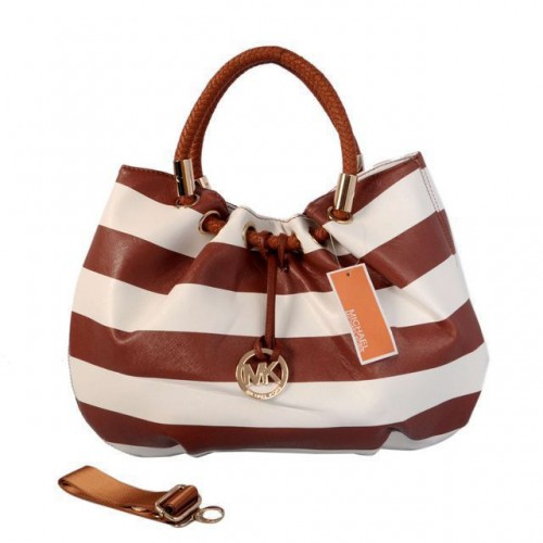 Michael Kors Striped Large Brown Drawstring Bags