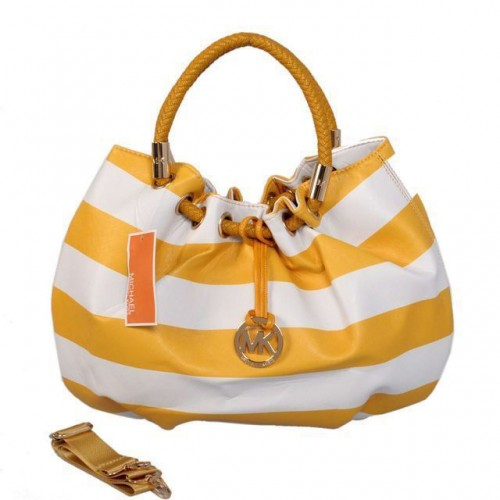 Michael Kors Striped Large Yellow Drawstring Bags