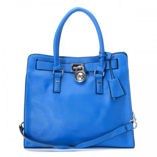 Michael Kors Hamilton Large Tote Blue Leather Silver