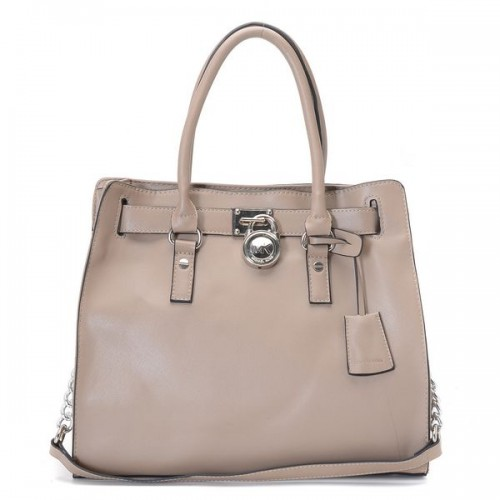 Michael Kors Hamilton Large Tote Nude Leather Silver