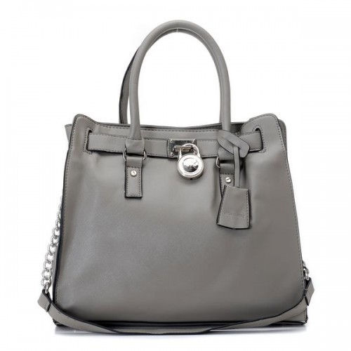 Michael Kors Hamilton Large Tote Pearl Gray Leather Silver
