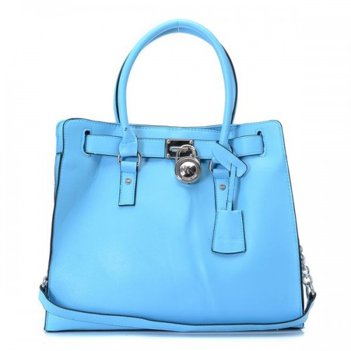 Michael Kors Hamilton Large Tote Surf Blue Saffiano Leather Silver