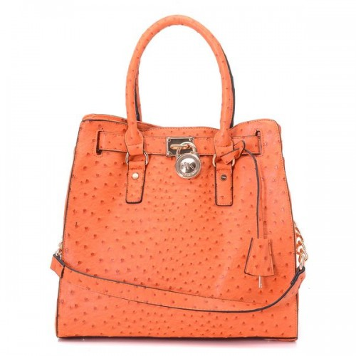 Michael Kors Large Hamilton Ostrich-embosesd Tote Orange Gloden