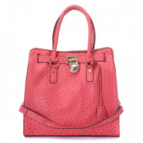 Michael Kors Large Hamilton Ostrich-embosesd Tote Pink Gloden