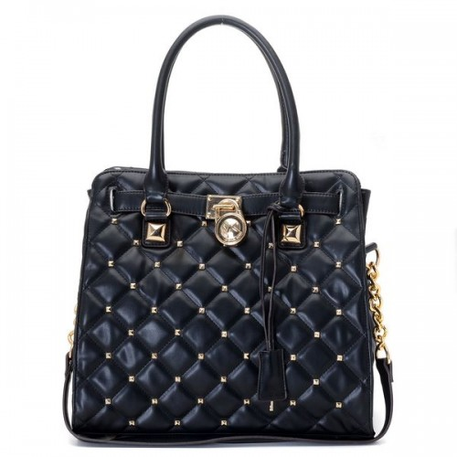 Michael Kors Large Hamilton Studded Quilted Tote Black