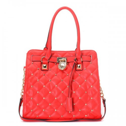 Michael Kors Large Hamilton Studded Quilted Tote Red