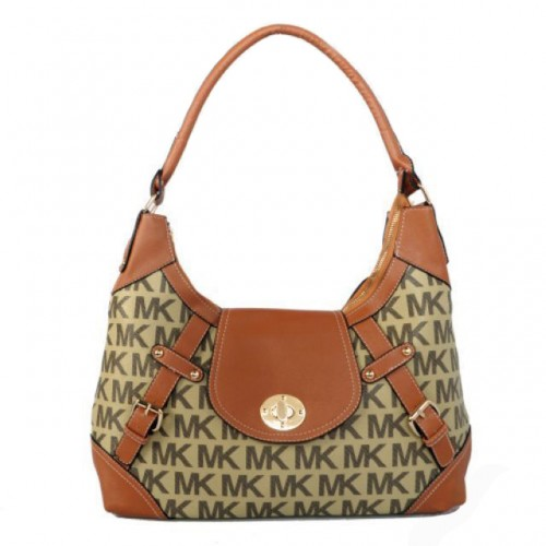 Michael Kors Logo Lock Large Beige Hobo