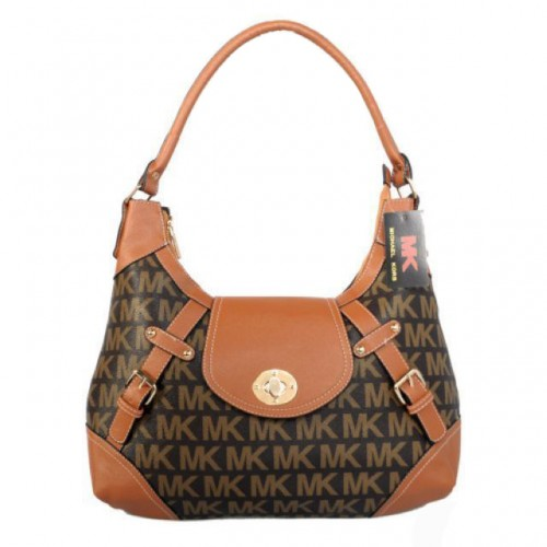 Michael Kors Logo Lock Large Coffee Hobo