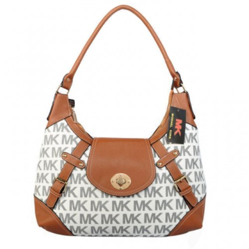 Michael Kors Logo Lock Large Grey Hobo