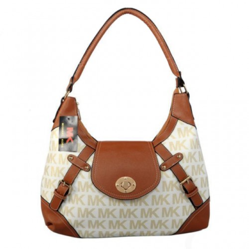 Michael Kors Logo Lock Large Khaki Hobo