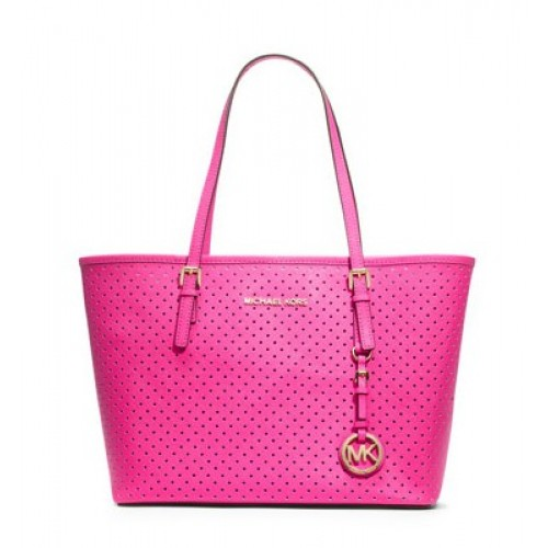 Michael Kors Jet Set Perforated Travel Tote Pink