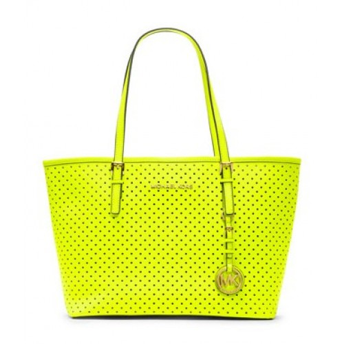 Michael Kors Jet Set Perforated Travel Tote Yellow