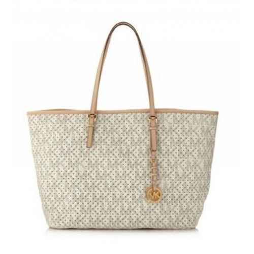 Michael Kors Jet Set Perforated-Logo Travel Tote