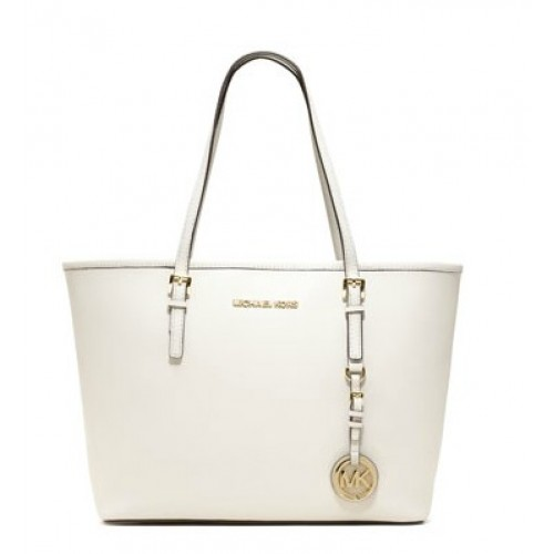 Michael Kors Jet Set Saffiano Travel Tote White