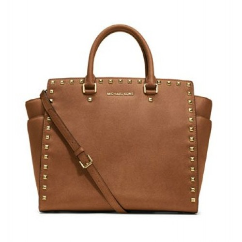 Michael Kors Large Selma Studded Saffiano Tote Brown
