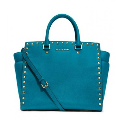 Michael Kors Large Selma Studded Saffiano Tote Turquoise
