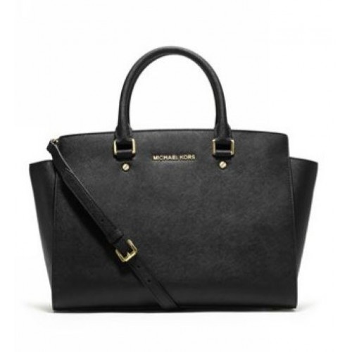 Michael Kors Large Selma Top-Zip Satchel Black