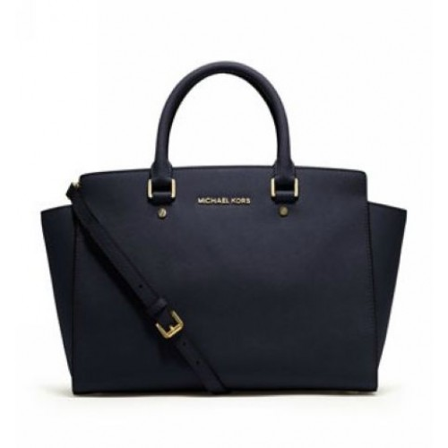 Michael Kors Large Selma Top-Zip Satchel Navy