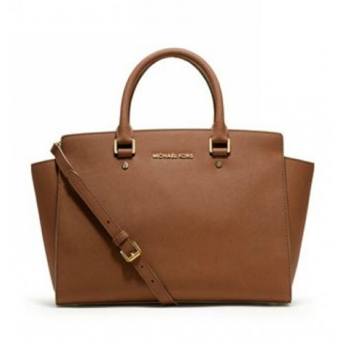 Michael Kors Large Selma Top-Zip Satchel Tan