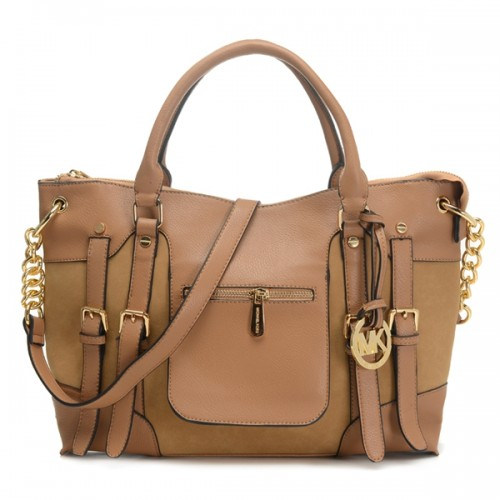 Michael Kors Satchel Mcgraw Leather Large Slim Tan Bag