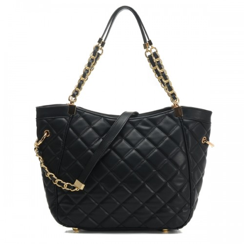 Michael Medium Susannah Quilted Shoulder Bag Black