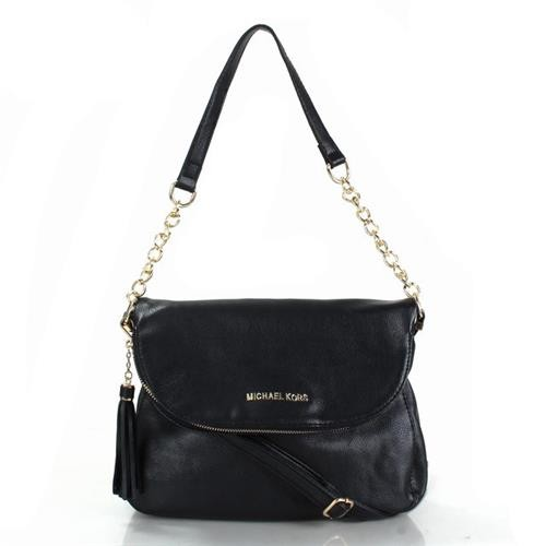 Michael Kors Bedford Leather Tassel Medium Black Crossbody Bags
