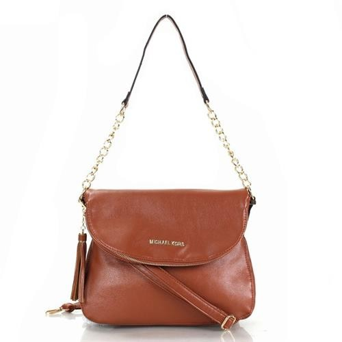 Michael Kors Bedford Leather Tassel Medium Brown Crossbody Bags
