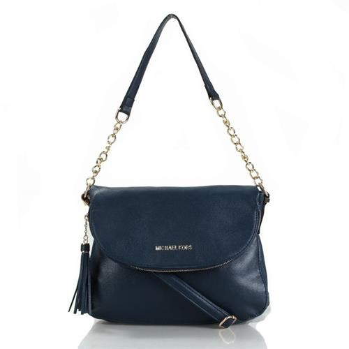 Michael Kors Bedford Leather Tassel Medium Navy Crossbody Bags