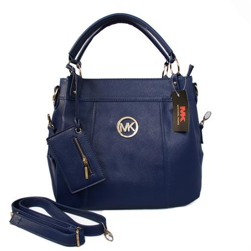 Michael Kors Logo With a packet Large Navy Satchels