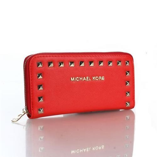 Michael Kors Selma Stud Logo Small Red Wallets