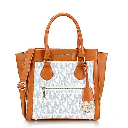 Michael Kors Selma Zipper Small Brown White Satchels