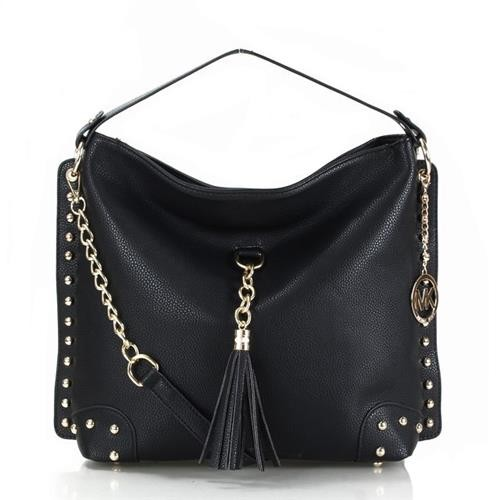 Michael Kors Stud Tassel Large Black Shoulder Bags